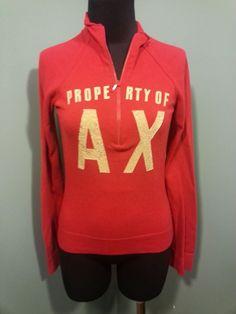 A/X Armani Exchange Red Beige Lettered Half Zip Long Sleeve Cotton Sweater S #ArmaniExchange #HalfZip