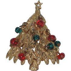 Benedikt N.Y. 3D Glass Ornament Christmas Tree Pin ~ Book Piece