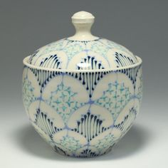 Wheel Thrown Handmade Ceramic Jar with Sky by dawndishawceramics  pinned by Caitlin K