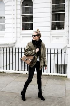 Bomber camo with black scarf boots and leggings gray top