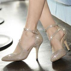 Hot Fashion Women Sexy High Heels Stilettos Ladies Wedding Shoes Stars Wear Sparkling Golden Silver 2 Colors X-209