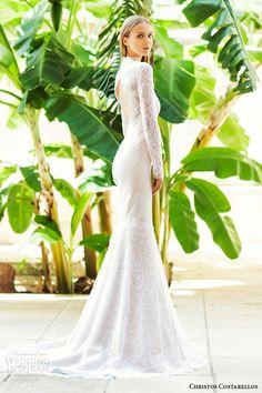 christos costarellos bridal 2015 style br15 33 long sleeve lace sheath wedding dress scalloped keyhole back