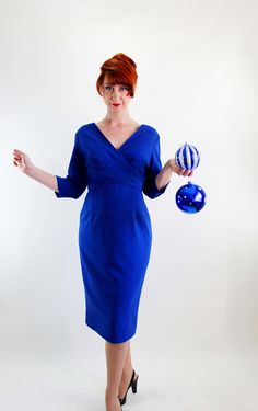 1950s Royal Blue Wool Wiggle Dress.
