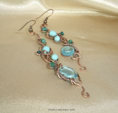 Copper wire earrings with glass beads Wire Wrapped Earrings, Wire Earrings, Sea Flowers, Wire Work, Copper Wire, Wire Wrapping, Turquoise Necklace, Glass Beads, Wire Weaving