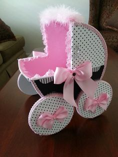 The Lizzy Baby Carriage Centerpiece / Carriage Centerpiece / Baby Gift Basket / Pink And Black Baby Shower