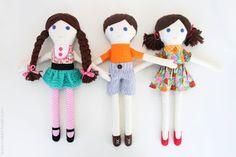 Boneca de Pano: Bonecos Menino e meninas - passo a passo