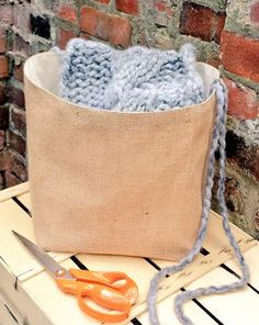 LARGE KNITTING BAG Jute Hessian Burlap Crochet Project Bag Reversible Storage Organizer Bucket Nursery Laundry Toys Basket Handmade Gift