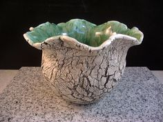 Ceramics,Pottery, Home Decor, Pinch Pot, Vase, Planter,  Toothbrush holder, Black and White with a Mossy Green Interior, By Dana Morton.