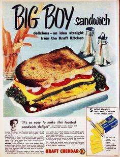 BIG BOY Sandwich - made with Kraft Cheddar. 1955.