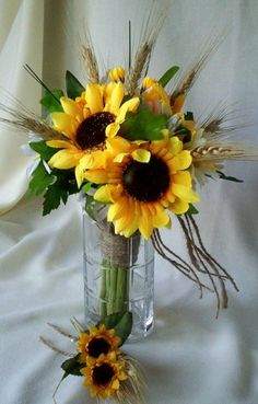 Sunflower Bouquet Twine wrap Fall Weddings Silk Bridal Bouquet.  Pretty bouquet, but maybe something like this for the tables?