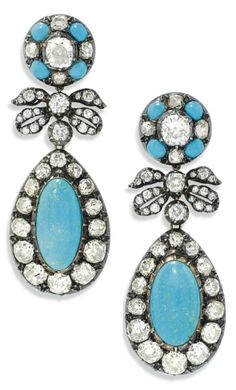 A PAIR OF ANTIQUE TURQUOISE AND DIAMOND EAR PENDANTS. Each old-cut diamond and turquoise cabochon cluster surmount, suspending a diamond-set bow spacer and further drop shaped turquoise and diamond cluster pendant, mounted in silver and gold, later post fittings, 6.0cm. #antique #earrings