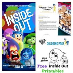 Disneys Inside Out Trailer Printable Recipes Activities