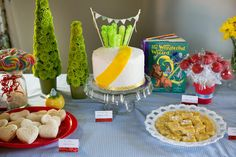 Our Wizard of Oz birthday party menu includes goodies like heart-shaped Tin Man turkey sandwiches, an Emerald City rainbow cake and Yellow Brick Road lemon  bars.