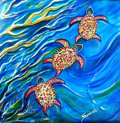 "Title: ""3 Turtles"" Art by Kimberly Sumerel. Acrylic art on canvas. Cards and prints for sale."