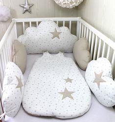 Personnalisé de lit bébé ENSEMBLE DE LUXE fait à la main set en Gris//rose avec broderie