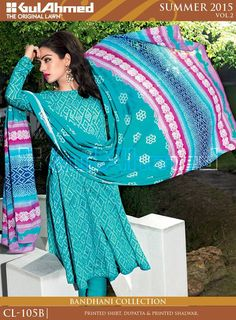 Gul Ahmed colourful girls summer bhandhani wear collections 2015