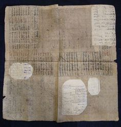 """Japanese """"boro"""" paper, glued together from old ledger books, used in pawn shops to wrap goods"""