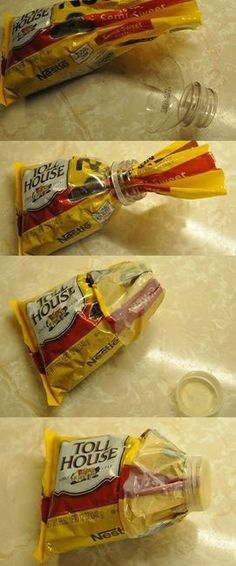 Take a small water bottle cut an half. Put Chocolate chip bag through the bottle spout, Fold-down and placed lid on tight. To keep fresh..  :)