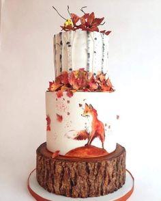 "107 Likes, 2 Comments - @4lovepolkadots on Instagram: ""Fall #weddingcake with #fox  #4lovepolkadots #weddingideas #weddinginvitation #cake #wedding…"""