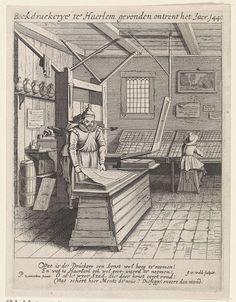Interieur van een boekdrukkerij, Jan van de Velde, 1628