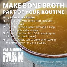 Homemade bone broth is one of the most powerful superfoods on the planet. Drink this bone broth to heal your gut, reverse aging, and cure the common cold. Paleo Recipes, Crockpot Recipes, Soup Recipes, Cooking Recipes, Ketogenic Recipes, Recipies, The Wild Diet, Fat Burning Soup, Burning Man