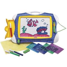 Basic Doodle Pro now comes to life with Color! Use the included tracing stencils (5) to create your favorite scene- then bring it to life with colorful markers! (non-permanent included). Includes Basic Doodle Pro with 3 markers 5 stencils and an eraser. Storage in back of Doodle Pro holds your stencils. Carry handle for portability.