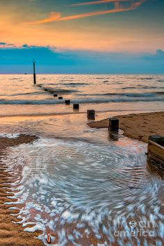 ✯ Whirlpool Pattern at Sunset - Rhyl Beach - North Wales, UK
