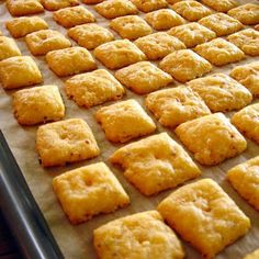 Cheese Crackers, melt butter first if you don't have a food processor and knead together.