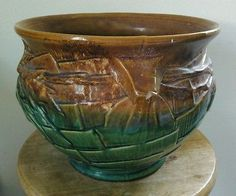 Antique Nelson Mccoy Pottery Blended Glaze Jardiniere  Majolica Blue Green Brown