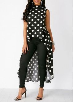 Polka Dot Black Sleeveless High Low Blouse Polka Dot Black Sleeveless High Low Blouse - Trend Way Dr Dots Fashion, Black Women Fashion, Womens Fashion, Trendy Tops For Women, Blouses For Women, Blouse Styles, Blouse Designs, Black Chiffon Blouse, Black Blouse