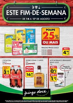 Promoções Pingo Doce para este fim de semana, válido de 14 a 17 Agosto. Válido apenas para Portugal Continental. Para a região da Madeira está em vigor até dia 18 agosto o folheto Aproveite!