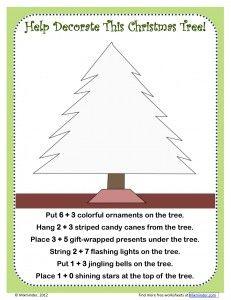 Christmas tree addition worksheet- free printable
