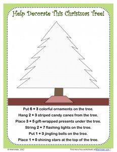 Free Christmas tree addition activity - add numbers to find out what items to draw on the tree. Common Core aligned: 1.OA.5, 2.OA.2.