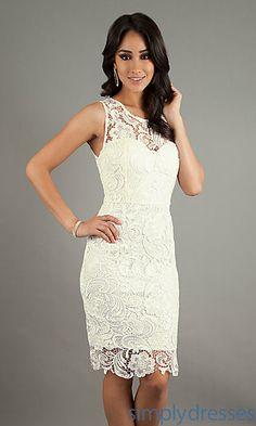 Sleeveless Lace Knee Length Dress at SimplyDresses.com