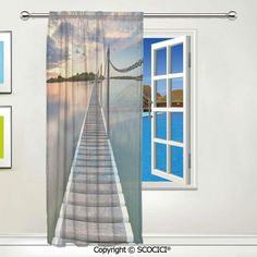 "SCOCICI Window Sheer Curtain 1 Panel,Pontoon Jetty Pier Deck Across The Water at Dramatic Sunset with Voile Curtain Drapes Panels for Bedroom Living Room Decor 55""x78"""