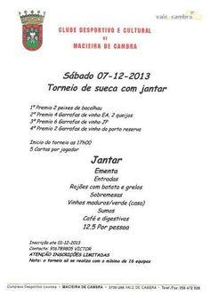 Torneio de Sueca com jantar  > 7 Dezembro 2013  _CDC Macieira de Cambra_ #ValeDeCambra #MacieiraDeCambra