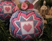 Quilted and Cross Stitched Country Heart Christmas Ornament