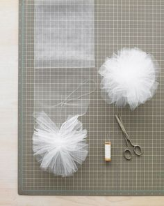 Tulle or Net Pom-Poms (use instead of: bows, hair accessories, tissue paper flowers):