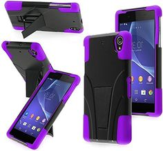 "myLife Protective Slim Armor Kickstand Case for the Sony Xperia Z2 {Periwinkle Purple and Black ""Modern Deluxe Design"" Two Piece NEO Hybrid with Rubber Bumper Shell} myLife Brand Products http://www.amazon.com/dp/B00PJ8GBJ2/ref=cm_sw_r_pi_dp_jY3Aub15RWC94"