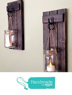 "Rustic Wooden Candle Holder, Mason Jar Candle Wall Sconce, Set Of Two, 12""x5"",in Weathered Black! from Cove Decor https://www.amazon.com/dp/B01JRHYSPO/ref=hnd_sw_r_pi_awdo_HdrBybYJH90HM #handmadeatamazon"