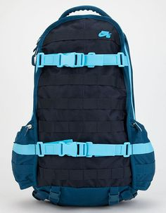 "Nike SB RPM backpack. Adjustable straps at front for board-carrying system. Side zip and mesh pockets. Exterior zip laptop compartment to keep laptop secure and protected. Zip main compartment for spacious storage. Curved padded shoulder straps. Dimensions: 12"" L x 6"" W x 19"" H. Imported."