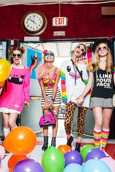 White Lucky Sweater with Rainbow Sleeves, rainbow knee socks and Pink Taco Monster sweater, Taco Crop top and I Like Your Face Tee - all from SO SO Happy