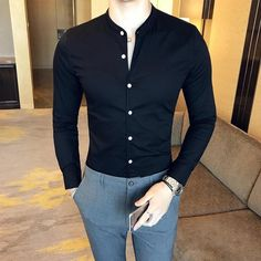 2018 New Men's Fashion Boutique Cotton Solid Color Collar Casual Business Long-sleeved Shirts Male Slim High-end Leisure Shirts-cgabuy Best Business Casual Outfits, Stylish Mens Outfits, Mens Fashion Wear, Men's Fashion, Street Fashion, Fashion Guide, Fashion Styles, Fashion Rings, Fashion Clothes