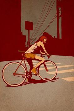 Chica en bici que le viene grande esperando a que el semáforo se ponga verde en una ciudad bastante desierta.