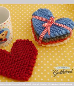 Knitted Coasters. This would be a great, simple gift idea (and good practice!)