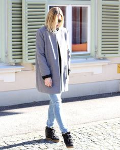 tifmys - Ray Ban Round Metal sunnies, Forever 21 coat, H&M knit and ripped jeans & Isabel Marant Nowles boots.