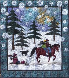 sleigh ride quilted wall hanging