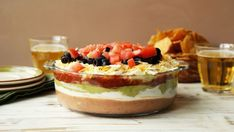 7 Layer Dip Recipe - Genius Kitchen This dip is super easy and a beautiful dish to entertain with. I have a big colorful platter that I put it on. It's always a hit! Top Recipes, Mexican Food Recipes, Cooking Recipes, Recipies, Cooking Tips, Delicious Recipes, Free Recipes, Salad Recipes, Healthy Recipes