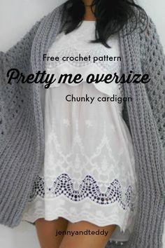 3a8172de30acbe pretty me oversize chunky cardigan free crochet pattern by jennyandteddy   FreeCrochetPattern Chunky Knitting Patterns