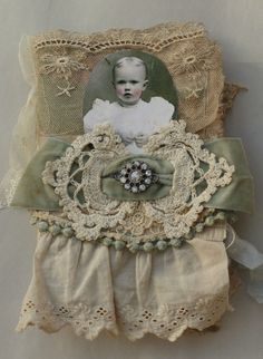 MIXED MEDIA FABRIC COLLAGE BOOK OF FRENCH INSPIRED VINTAGE GIRLS